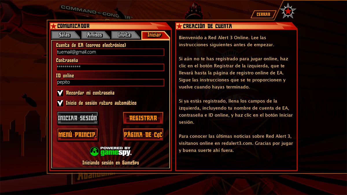 Red Alert 3: Modo Online